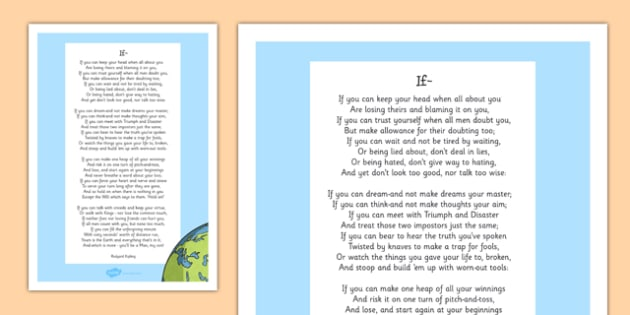 If by Rudyard Kipling Poem Print-Out - poem, print out, poetry, key stage 2 poetry, ks2, if, rudyard kipling