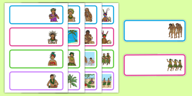 Pacific Islands Themed Drawer Peg Name Labels - nz, new zealand, pacific islands, drawer, peg, name, labels, display