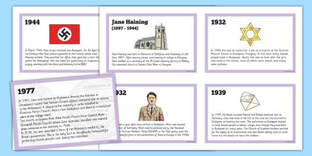 Scottish Significant Individuals Jane Haining Sequencing Cards - Scottish significant individual, Christian, missionary, Holocaust, Jewish, Auschwitz