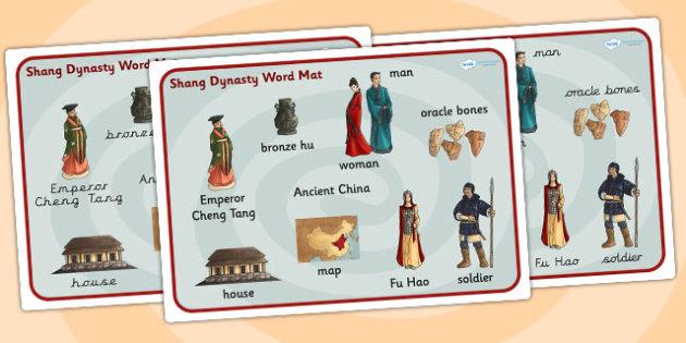 The Shang Dynasty Word Mat - shang dynasty, china, word mat