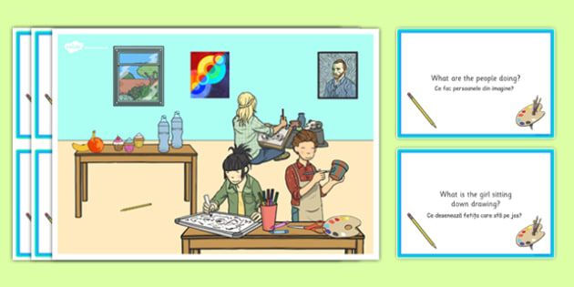 Art Lesson Scene and Question Cards Romanian Translation - romanian, art lesson, questions, comprehension pack