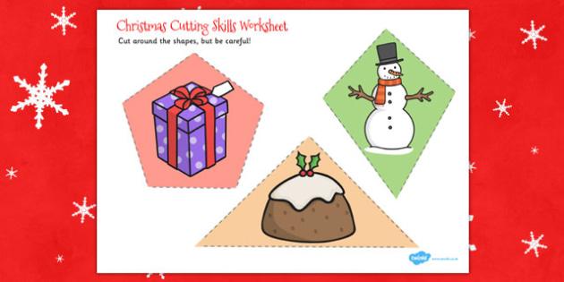 Christmas Themed Cutting Skills Worksheet - cut, motor, skill