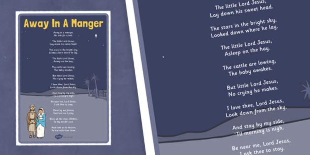 Away In A Manger Lyrics Poster - away in a manger, lyrics, poster, display
