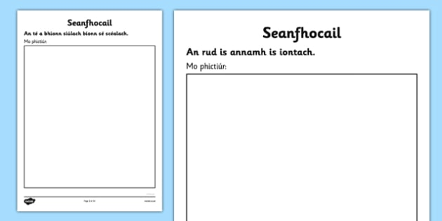 Irish Gaeilge Seanfhocail to Illustrate Activity Sheets - Gaeilge, proverbs, seanfhocail, drawing, illustrating, activity sheet, worksheet