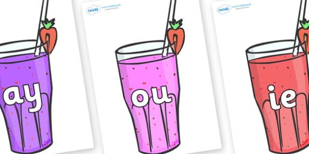Phase 5 Phonemes on Smoothies - Phonemes, phoneme, Phase 5, Phase five, Foundation, Literacy, Letters and Sounds, DfES, display