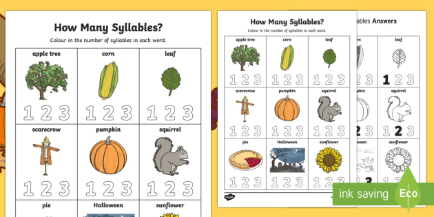 How Many Syllables? Autumn Activity Sheet