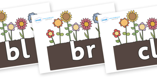 Initial Letter Blends on Flowers in Garden - Initial Letters, initial letter, letter blend, letter blends, consonant, consonants, digraph, trigraph, literacy, alphabet, letters, foundation stage literacy