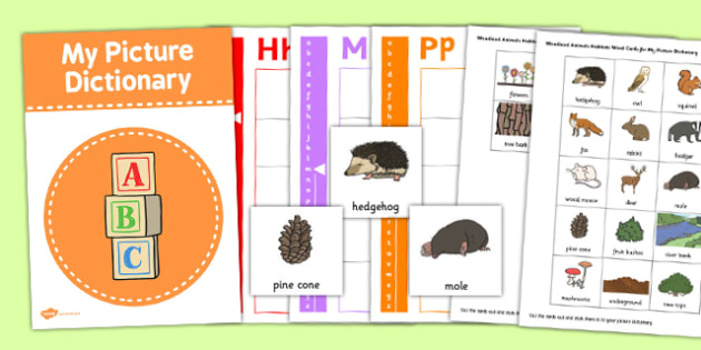 Woodland Animals Picture Dictionary Word Card Set - dictionary