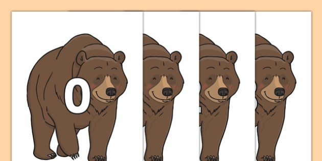 Numbers 0-31 on Bear - 0-31, foundation stage numeracy, Number recognition, Number flashcards, counting, number frieze, Display numbers, number posters