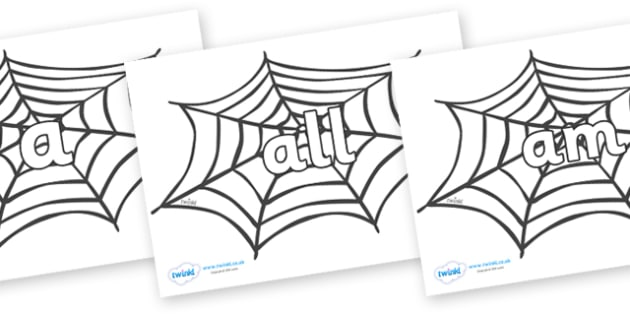Foundation Stage 2 Keywords on Spiders Web - FS2, CLL, keywords, Communication language and literacy,  Display, Key words, high frequency words, foundation stage literacy, DfES Letters and Sounds, Letters and Sounds, spelling