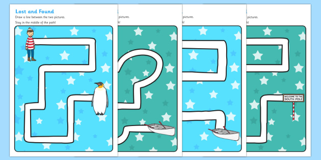 Pencil Control Path Activity Sheets to Support Teaching on Lost and Found - pencil control
