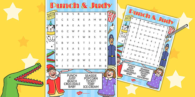 Punch and Judy Wordsearch - wordsearch, word, search, punch, judy