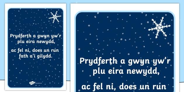Snowflake Poem Display Poster - welsh, cymraeg, snowflake, snow, winter, seasons, winter poems, poem, display poster, poster, poster for display, winter display, display