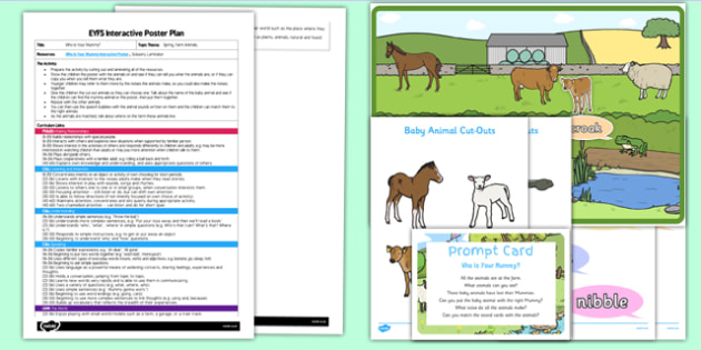 Who Is Your Mummy? EYFS Interactive Poster Plan and Resource Pack - Spring, Animals, Growing, Farm