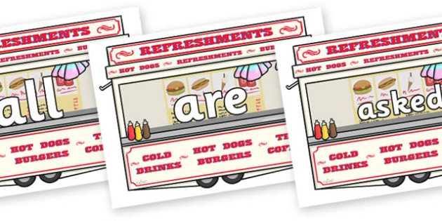 Tricky Words on Fairground Food Vans - Tricky words, DfES Letters and Sounds, Letters and sounds, display, words