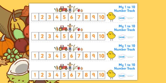 Harvest Number Track (1-10) - Harvest, Maths, Math, number track, numbertrack, Counting, Numberline, Number line, Counting on, Counting back, harvest festival, fruit, apple, pear, orange, wheat, bread, grain, leaves, conker