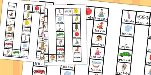 Two Syllable Final B Board Game - final, b, board, game, syllable