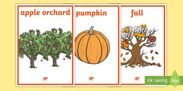 Fall Vocabulary Display Posters