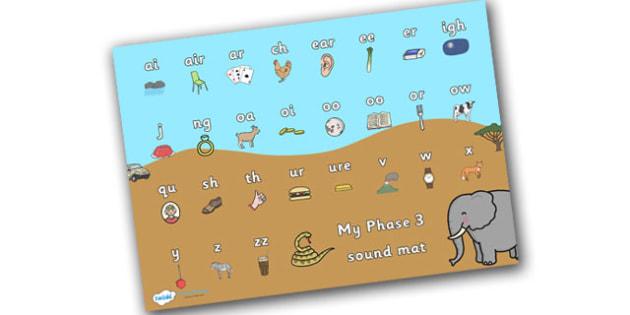 Safari Themed Phase 3 Sound Mat - safari, on safari, safari sound mat, safari phase 3 sound mat, safari themed sound mat, letters and sounds, phonics