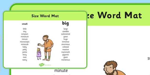 Size Word Mat - size, word mat, word, mat, measure, big, small, large, tiny