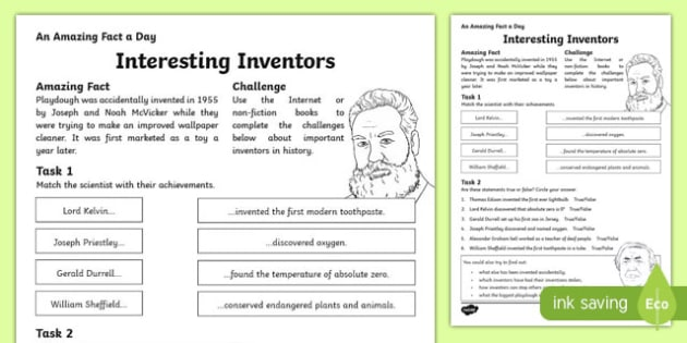 Interesting Inventors Activity Sheet, worksheet