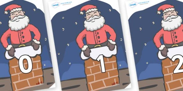 Numbers 0-100 on Santa (Chimney) - 0-100, foundation stage numeracy, Number recognition, Number flashcards, counting, number frieze, Display numbers, number posters