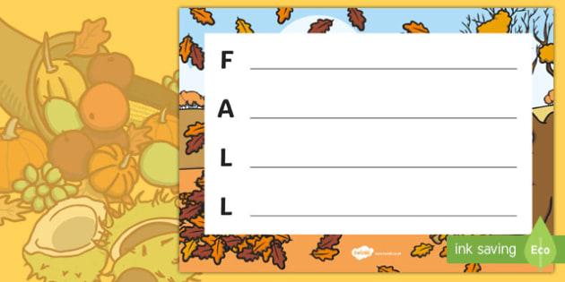 Fall Acrostic Poem Writing Activity Sheet