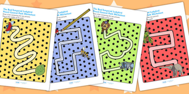 Pencil Control Path Worksheets to Support Teaching on The Bad Tempered Ladybird - story