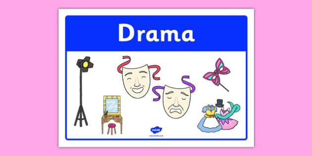 Drama Classroom Area Sign - gaeilge, roi, irish, area, sign, classroom, display, drama