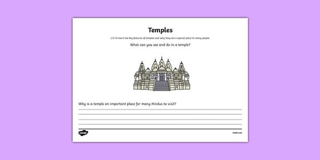 Hinduism Temple Mind Map Activity Sheet - hinduism, temple, mind map, activity, worksheet