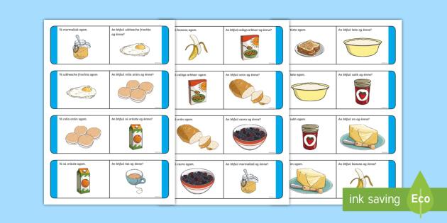 Breakfast Time Loop Cards Gaeilge - Am, Bricfeasta, Bia, Irish, Bia, Food, Breakfast, bricfeasta,Irish