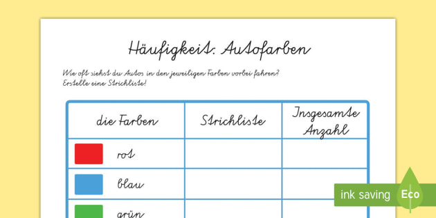 Häufigkeit: Autofarben Car Colour Survey German - german, traffic, car colour, colour, cars, survey, how many cars, red, black, green, white