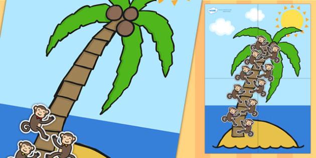 Large Palm Tree and Monkey 10 Step Reward Chart - reward chart, reward, chart, themed reward chart, palm tree, monkey, 10 step reward chart, 10 step