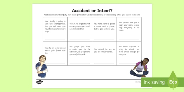 Accident or Intent? Activity Sheet - Social Skills, accident, intent, intentional, accidental, action, hurtful, on purpose