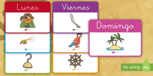 Días de la semana de exposición: Los piratas - Los piratas, proyecto, transcurricular, el mar, barcos, lunes, martes, miércoles, jueves, viernes,