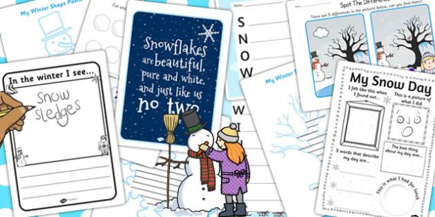 KS1 Snow Activity Pack - ks1, snow, activity pack, activity, pack