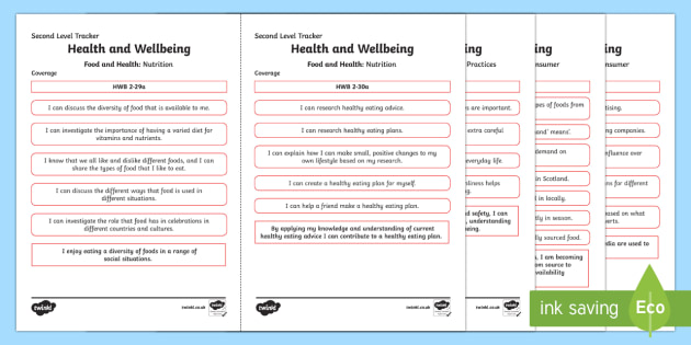 CfE Health and Wellbeing (Food and Health) Second Level Child Friendly Tracking-Scottish