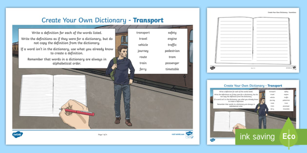 Transport Key Vocabulary Create Your Own Dictionary - Vocabulary Development, reading for information, definitions, creating texts, alphabetical order,Sco