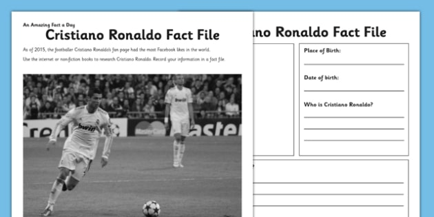 Cristiano Ronaldo Fact File - football, footballer, sports, research, biography, writing frame, writing, activity