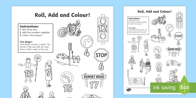 Road Safety Three Dice Addition Roll and Colour Activity Sheet