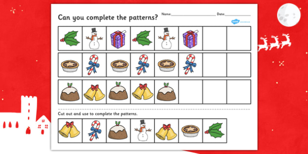 Christmas Complete the Pattern Worksheet - worksheets, activity
