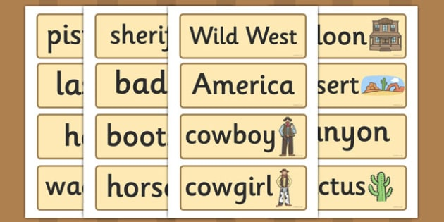 Wild West Word Cards - Cowboy, wanted poster, Indian, card, flaschards, writing aid, America, American West, Native American, sheriff, badge, guns, arrows, saloon, cactus
