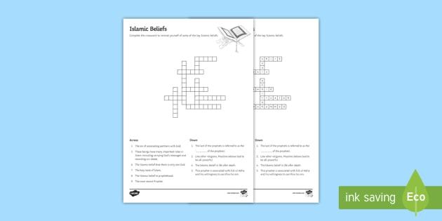 Islamic Beliefs Crossword - Islamic Beliefs, Tawhid, Qur'an, Muhammad, Islam