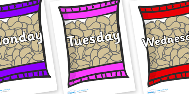Days of the Week on Crisps - Days of the Week, Weeks poster, week, display, poster, frieze, Days, Day, Monday, Tuesday, Wednesday, Thursday, Friday, Saturday, Sunday