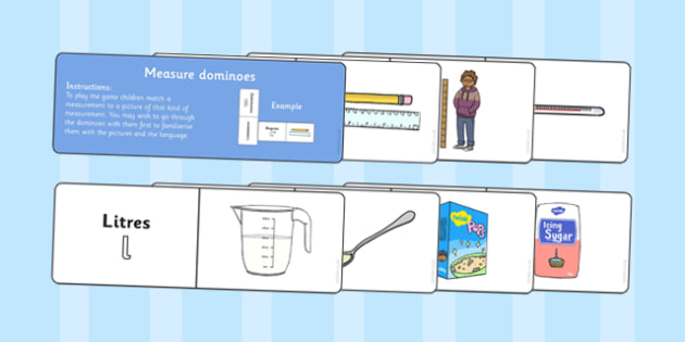 Measure Dominoes - maths, numeracy, units of measure, matching, comparing