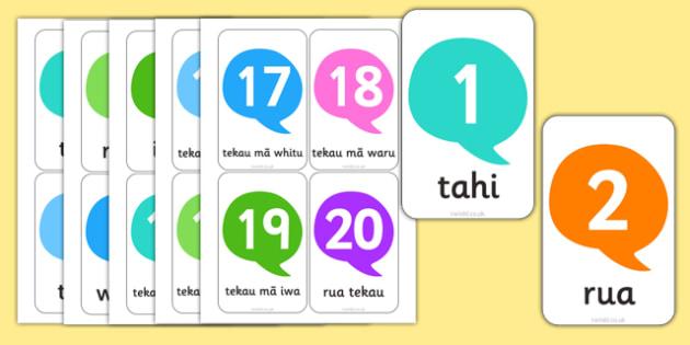 Numbers 1-20 Flash Cards Te Reo Māori - nz, new zealand, te reo māori, māori, flash cards, numbers, 1, 20