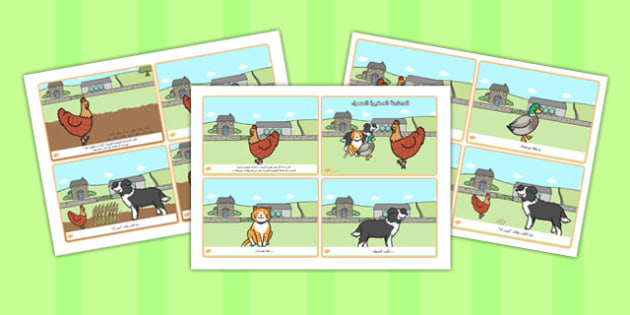 بطاقات كلمات قصة الدجاجة الصغيرة الحمراء عربي