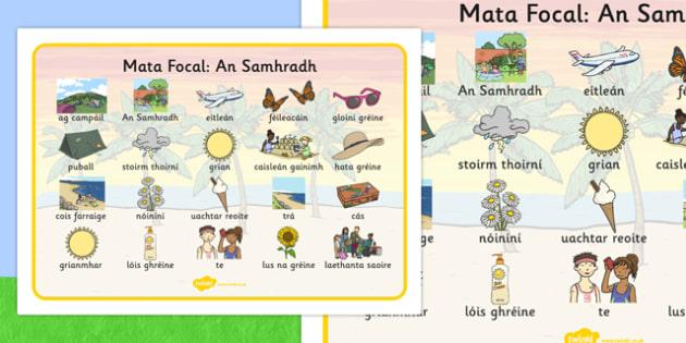 Summer Word Mat Images Gaeilge - Summer, holidays, word mat, writing aid, holiday, holidays, seasons, beach, sun, flowers, ice cream, sea, seaside