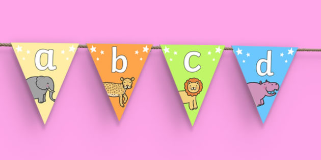 Cute Animals Alphabet Bunting - cute animals, alphabet bunting, A-Z bunting, animal bunting, cute animal bunting, animal alphabet bunting, alphabet buntin