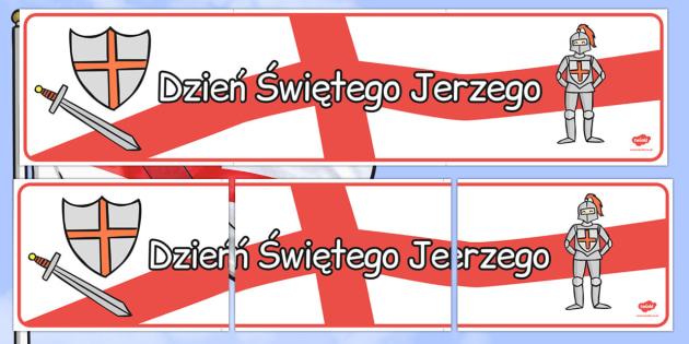 Banner na gazetkę Dzień św. Jerzego po polsku - patron